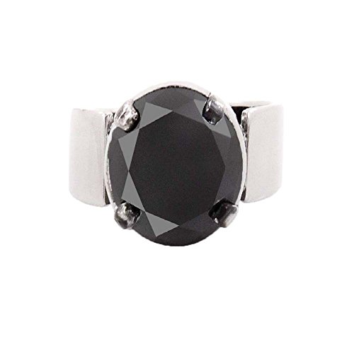 Round Cut 1.50 Ct Black Diamond Solitaire Silver Ring with Black Rhodium Finish by Gems River
