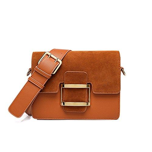 Amplia bolsa de correa de hombro inclinado Retro cuadrado pequeño bolso con el lijado solo hombro bolsa pequeña, negro Brown