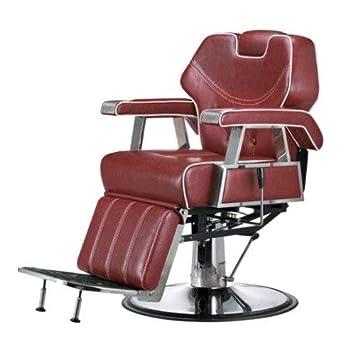 Friseurstuhl Retro Barber Stuhl Rot Hohenverstellbar