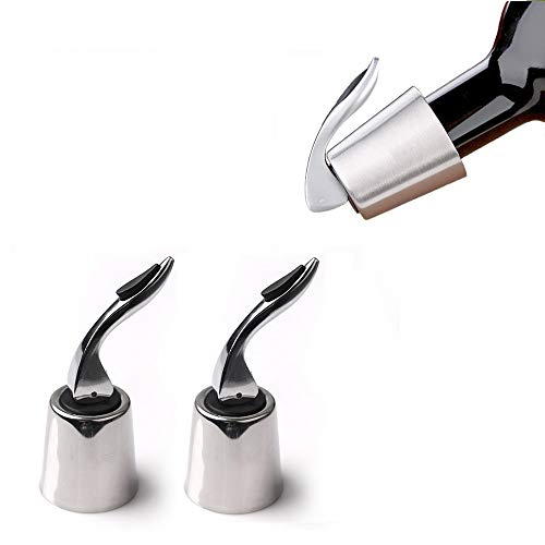 Bozoa Wine Bottle Stoppers/Stainless Steel Wine Bottle Plug with Silicone Reusable Wine Saver with Built-In Pressure Pump Keeps Wine Fresh (2 PCS)