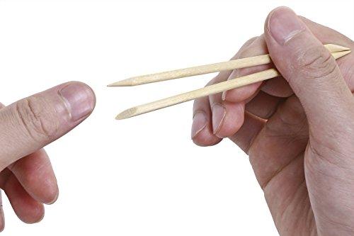 Mini Skater 50 Pcs Orange Wood Nail Sticks Double Sided Multi Functional Cuticle Pusher Remover Manicure Pedicure Tool (50)