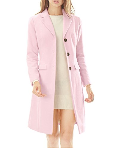 Allegra K Women Notched Lapel Button Closure Worsted Long Coat L Light -