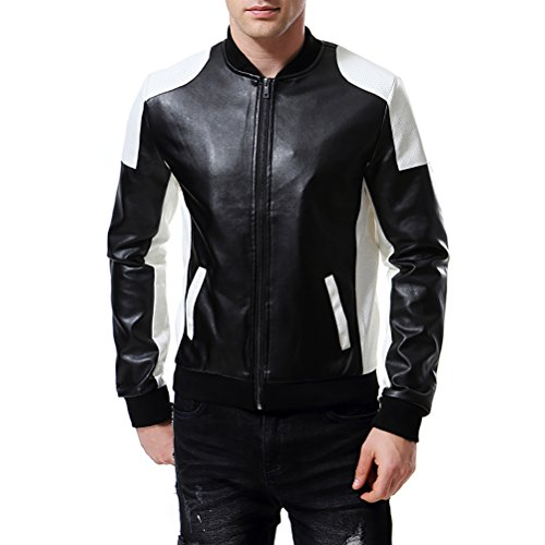AOWOFS Men's PU Faux Leather Jacket White Black Moto Bomber Fashion Slim Fit Coat