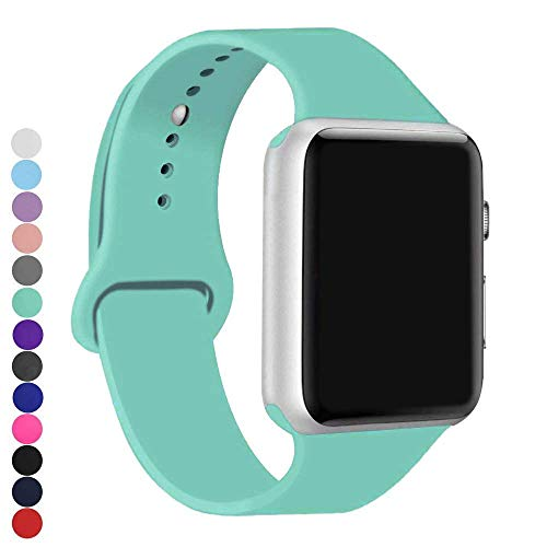 a8Miss Apple Watch Band, Silicone Replacement Iwatch Bands Series 1, Series 2,Series 3 (38mm S/M, Mint Green)