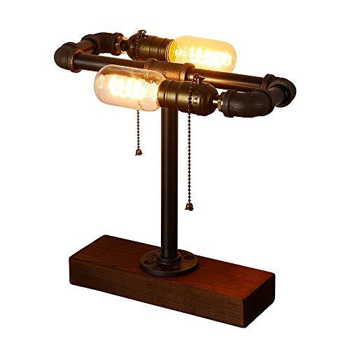 INJUICY Loft Madera Base Steampunk Lámpara Escritorio Hierro Tubo Lámpara de Mesa de Luz del Escritorio Lámpara de Mesilla Noche para Estudio de Luz ...