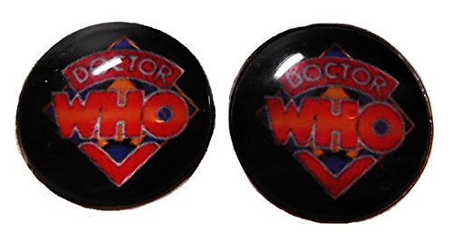 DOCTOR WHO Original Logo Glass Domed Stud EARRINGS