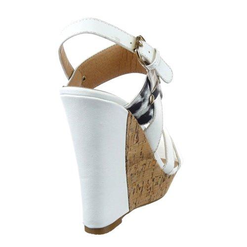 Sopily - Zapatillas de Moda Sandalias Plataforma Zapatillas de plataforma Tobillo mujer leopardo Talón Plataforma 12 CM - Blanco