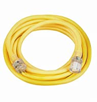 Coleman Cable 02687 10/3 25-Foot Vinyl Outdoor Extension Cord with Lighted End