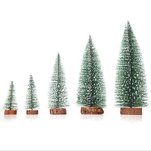 YJB Set of 5PCS Mixed Realistic Mini Cedar Tree Tabletop Christmas Village Trees Desktop Small Pine Trees Model Trees with Base for Xmas Party Table Decoration Home Decor
