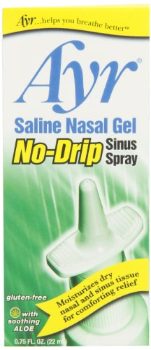Sinus Saline Spray - Ayr Saline Nasal Gel No-drip Sinus Spray With Soothing Aloe Vera, 0.75 Ounce Spray Bottle