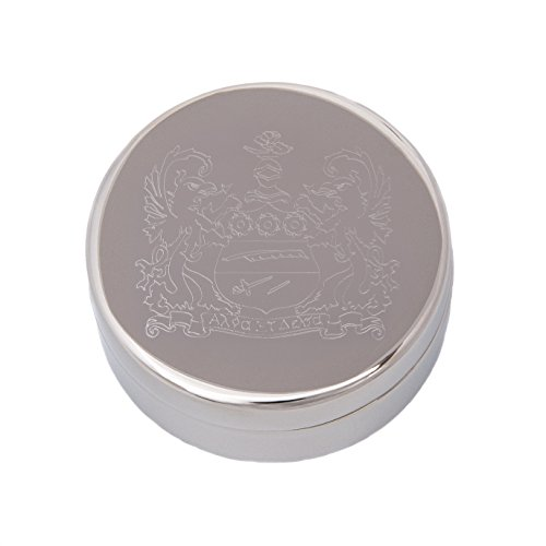 Alpha Xi Delta Round Engraved Pin Box Sorority Greek Decorative Case Great for Rings, Badges, Jewelry (Round Metal Crest Pin (Engraveable Lid)