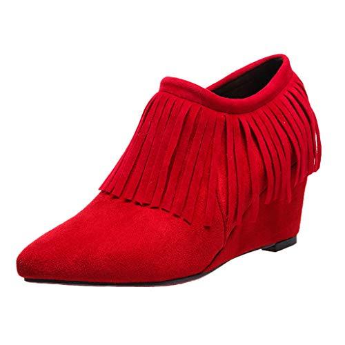 LIM&Shop ⭐ Women's Fringe Hidden Wedge Heel Ankle Boots Tassel Bootie Wide Width Low Heeled Round Closed Toe Side Zipper -