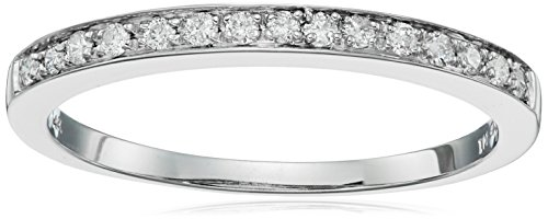 14k White Gold Diamond Ring (1/5 cttw, I-J Color, I1-I2 Clarity), Size 5 by Amazon Collection