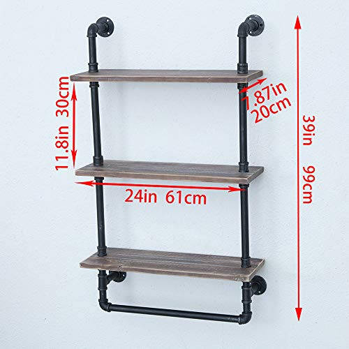 Industrial Bathroom Shelves Wall Mounted 3 Tiered,Rustic 24in Pipe Shelving Wood Shelf With Towel Bar,Black Farmhouse Towel Rack,Metal Floating Shelves Towel Holder,Iron Distressed Shelf Over Toilet by GWH (Image #2)