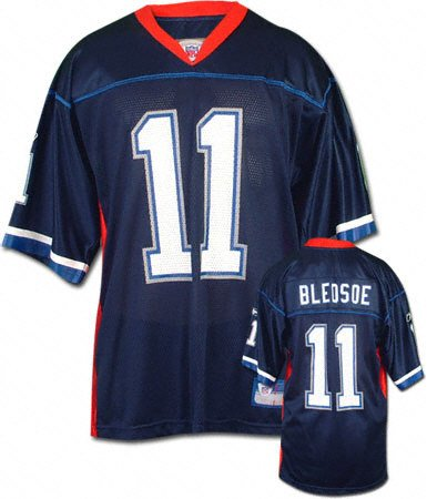 new styles 1f57b 9c7aa Amazon.com: Drew Bledsoe Navy Reebok NFL Replica Buffalo ...