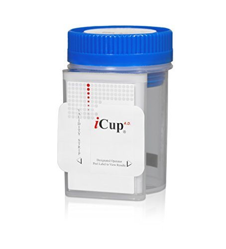 iCup 5 Panel Urine Drug Test (COC, THC, OPI, mAMP, PCP) w/ adulteration (OX,SG,PH) - CLIA Waived (25 Cups)