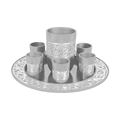 Kiddush Cup & Fountain Set - Yair Emanuel ALUMINUM KIDDUSH SET SILVER (Bundle)