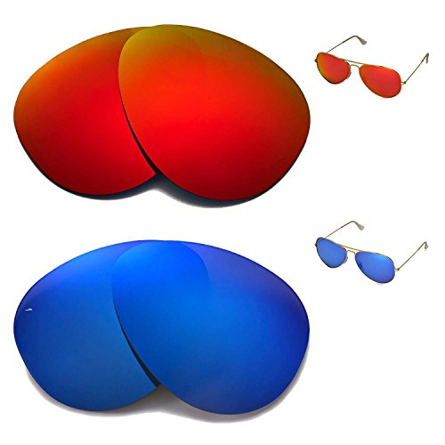 Walleva Polarized Fire Red+Ice Blue Replacement Lenses for Ray-Ban Aviator Large Metal RB3025 62mm Sunglasses