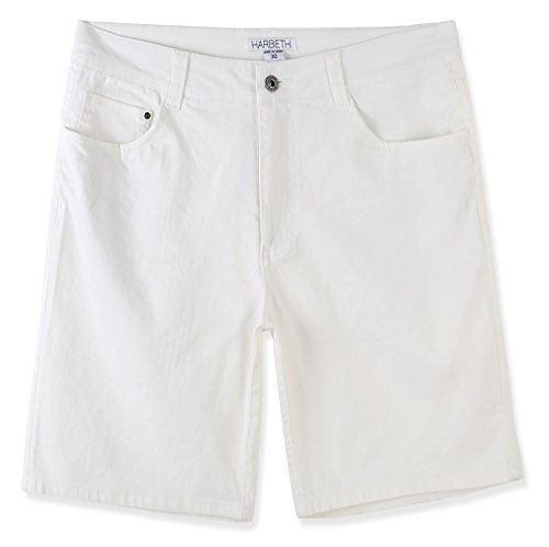 (HARBETH Men's Casual Classic Fit Flat-Front Stretch Solid Chino Walk Short Off White 38)