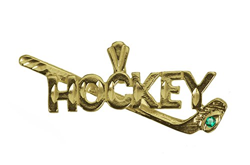 Diamond Hockey Player Charm - prince of diamonds Hockey Stick Puck Pendant Player Charm 24K Yellow Gold Plated Jewelry Emerald