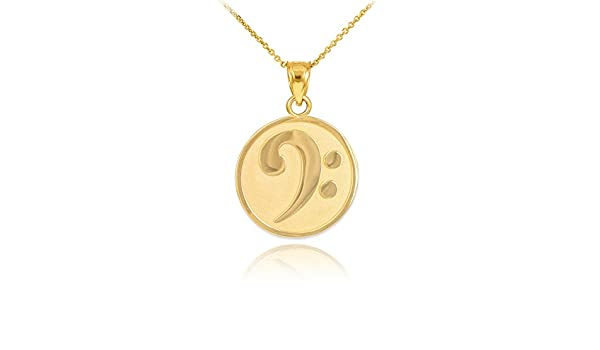 925 Sterling Silver Music Note Pendant Bass Clef Necklace