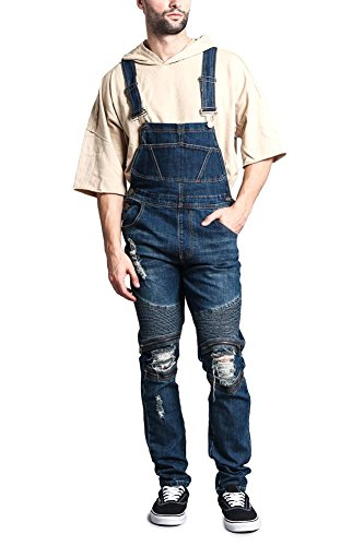 - Victorious Men's Distressed Ribbed Zipper Layered Torn Knee Denim Moto Biker Style Overalls FR105 - Dark Indigo - Large - O1E
