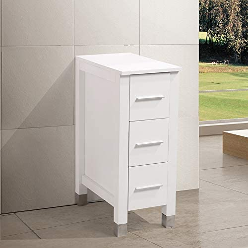 KINGRAN 12″ Modern Bathroom Vanity MDF Cabinet,White Color