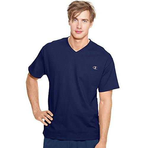 Champion Men's Jersey V-neck T-Shirt, NC Blue, X-Large