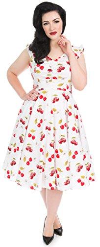 Size Kirschen Damen Plus Weiß Kleid 4XL Dress Roses roten Cherries amp; Swing Hearts mit Sweet qSUZ6yWa