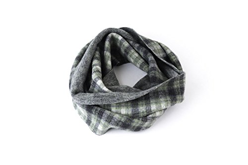Ring Scarf, Circle Scarf, Infinity Scarf, Loop, Snood, Neck, Women, Men, Girl, Boy, Unisex, Wool, Boiled Wool, Green, White, Tartan, Checkered, Handmade in Florence, Made in Italy, Italian Style