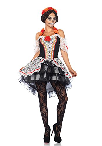 Leg Costume Avenue Halter - Leg Avenue Women's Day of The Dead Sugar Skull Costume, Multi Small/Medium
