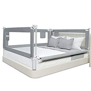 SURPCOS Bed Rails for Toddlers -New Upgraded Extra Long Bed Guardrail for Kids Great Fit for Twin, Double, Full-Size Queen & King Mattress (80 x 30 Inch, Grey)