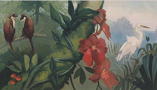 Jungle Monkey Heron Nature Wallpaper Border Retro Design, Roll 15' x 6