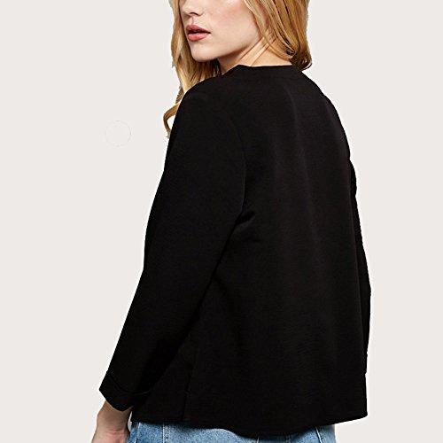 Blouse Dame Couleur Noir Chemise Mousseline T V Rtro Taille Qitun Shirt Femme Unie Chemise Tops Col Grande qYnxPzTSw