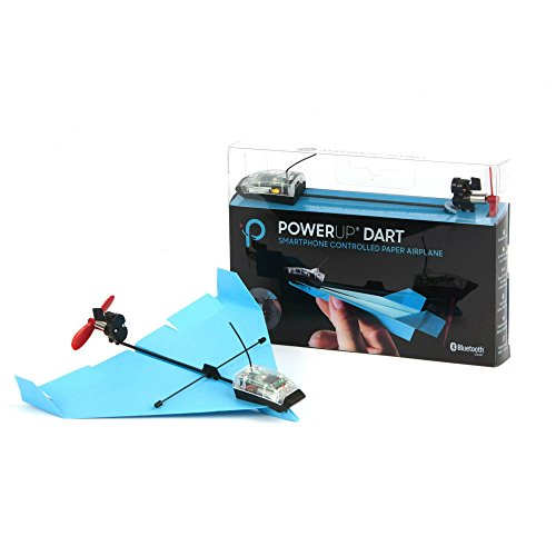 PowerUp Dart Aerobatic Smartphone Controlled Paper Airplanes Conversion Kit | Tiny Remote Controlled Motor for Paper Planes | RC Engine Works with Different Airplane Designs | Android & iOS Compatible ()