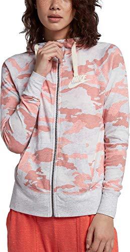 Nike Women's Sportswear Gym Vintage Camo Full-Zip Hoodie (Bleached Coral, X-Small)