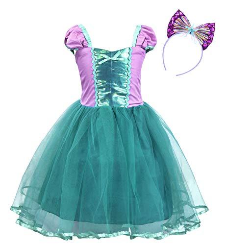 Jurebecia Girls Little Mermaid Dress for Halloween Costume Princess Party Fancy Dress up 1-8 Years (Purple+Green, 6(5-6Years))]()