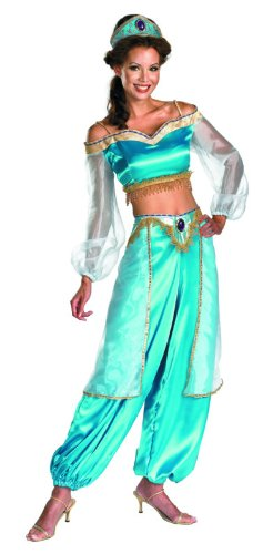 [Disguise Women's Disney Aladdin Jasmine Sassy Prestige Costume, Green, Medium 8-10] (Halloween Jasmine Costume)