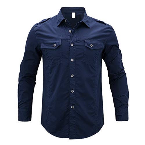 QBQCBB Stylish Men's Autumn Winter Shirt Brushed Long Sleeve Button Top Blouse(Navy,XXXXXL)