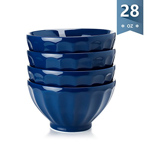 Sweese Fluted Latte Bowl Set - 28 Ounce Stable and Deep - Microwavable Bowls for Cereal, Soup, Noddle - Set of 4, ()