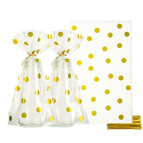 Clear Cello Bags 6x10 inch for Treat Candy Cookie Party Favor Bags, Gold Dot, Pack of 100 ()