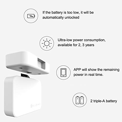 Cabinet Lock, Keyless Smart Lock for Drawer and Cabinet Bluetooth Smart Lock Perfectly for Bookcase, Bedside Table or Filing Cabinet, Support Android/iOS APP Unlock, Authorized Electric Key by YEELOC (Image #5)