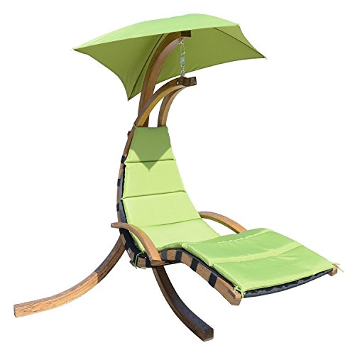 Cushion Solid Rubber Wheel (Wooden Green Hanging Chaise Lounger Air Porch Hammock)