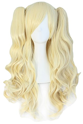 MapofBeauty Lolita Long Curly Clip on Ponytails Cosplay Wig (Light Blonde) (Light Blonde Wig)