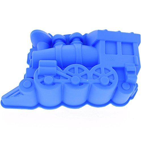 Elbee EB-714 Home 714 Premium Silicone Locomotive Train Shape Baking and Ice Cream Mold Easy Release, Blue -