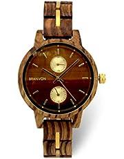 Branvon Divra Holzuhr für Damen - Quarzuhr mit Chronographen und Saphirglas aus exotisches Zebranoholz und echtem Marmor - Holz Armbanduhr Analog - Uhren für Frauen