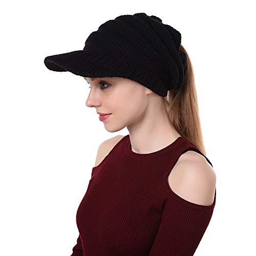 Peicees Warm Soft Brimmed Beanie Hat Winter Chunky Cable Knit Cap High Ponytail Hats for Girls Women