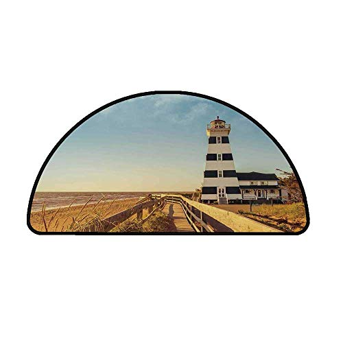 Lighthouse Decor Comfortable Semicircle Mat,Sandy Coastal Beachside with Lighthouse Sea Waves Wind Wooden Fence Pine Tree Weeds Clouds for Living Room,21.6