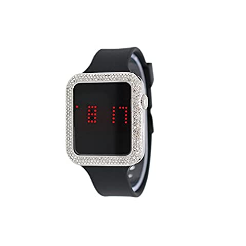 Techno Pave Iced Out Lab Diamond Square Silver Digital Touch Screen Sports Watch with Black Silicone (Iced Out Square Watch)