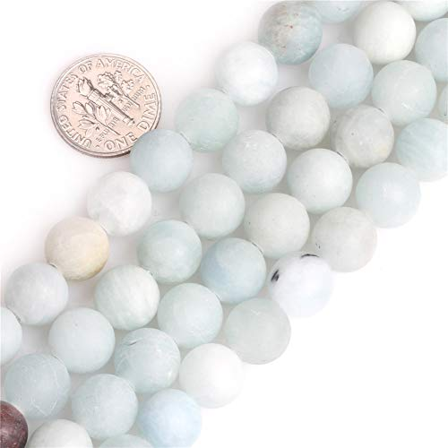 GEM-inside Genuine Natural Blue Aquamarine Matte Gemstone 10mm Round Stone Loose Beads Crystal Energy Stone Power for Jewelry Making 15
